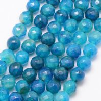 15 Natural Agate Bead Faceted, Deep Sky Blue, 8mm, Hole: 1mm